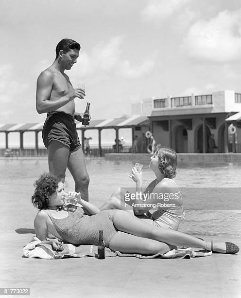 Family Drinking Poolside Pool Alcohol Beer Couple Mother Father Man Woman Men Women Girl Girls Child Children Swim Suit Florida Retro.