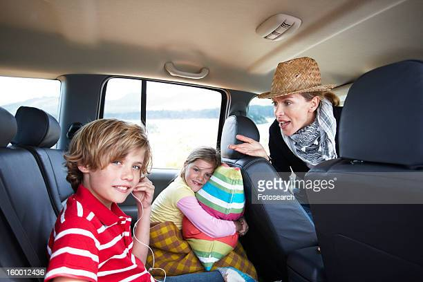 Family driving in a car