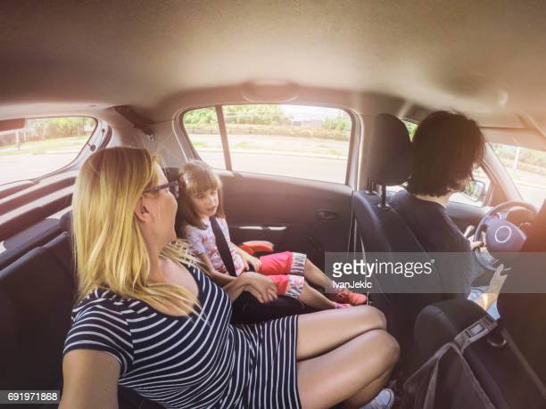Family driving in the car