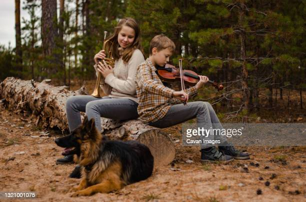 family duet brother and sister, boy and girl, teenagers play trumpet a - ニジニ・ノヴゴロド州 ストックフォトと画像