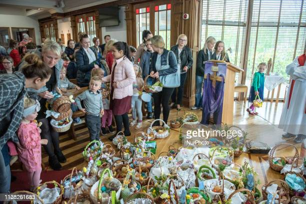 Family during the ceremony of blessing Easter basketsat at Good Shepherd Catholic Church Cumasu Centre Doughiska Road in Galway on Saturday April 20...