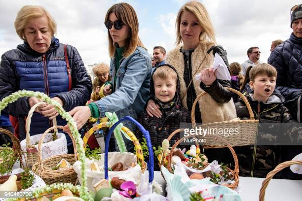 Family during the ceremony of blessing Easter basketsat The St Mary's Church Claddagh on Saterday March 31 in Galway Ireland Polish Catholics living...