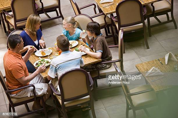 Family eating at a hotel restaurant