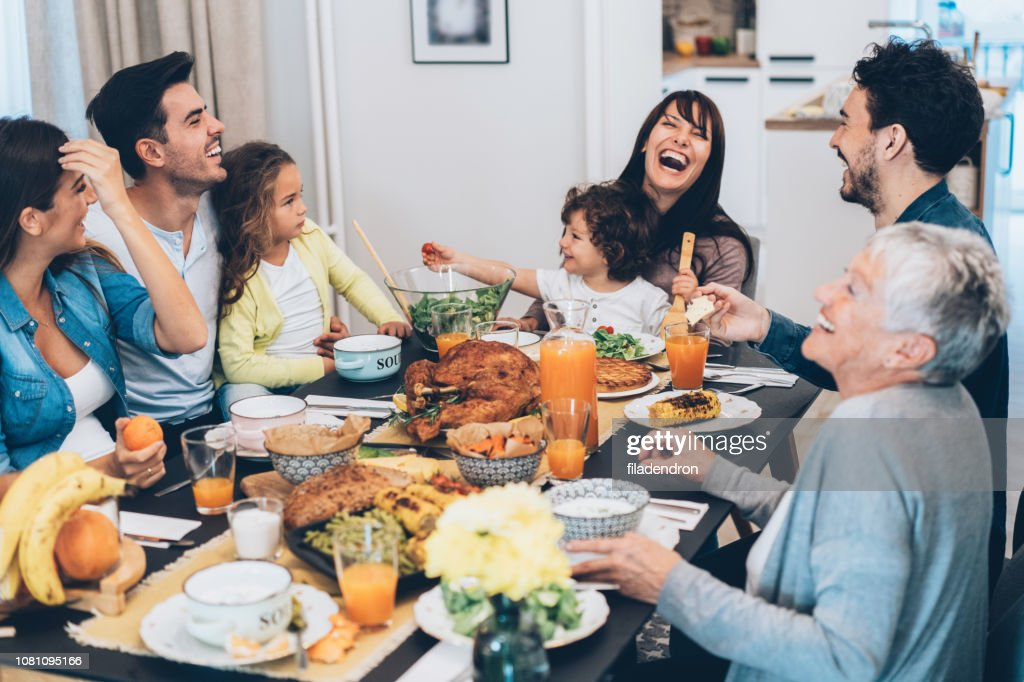 Family eating Christmas lunch : Stock Photo