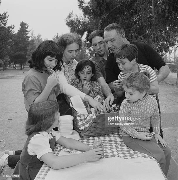 family eating food together at picnic table in park - 20th century stock photos and pictures