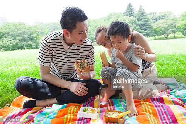 Family eating lunch in the park