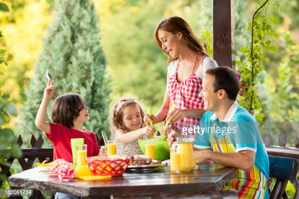 Family Eating Outdoors.