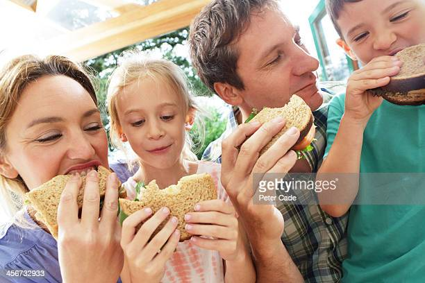 Family eating sandwiches