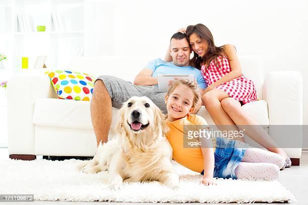 Family enjoy at home.