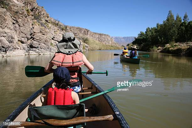 family enjoy canoeing - big bend national park stock pictures, royalty-free photos & images