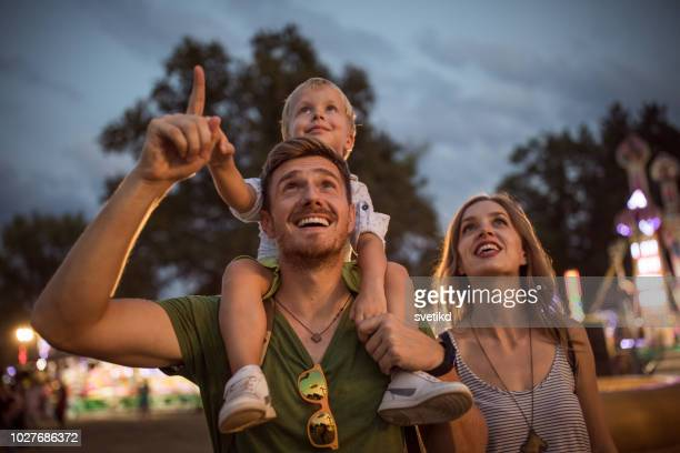 family enjoy on summer festival - music festival stock pictures, royalty-free photos & images