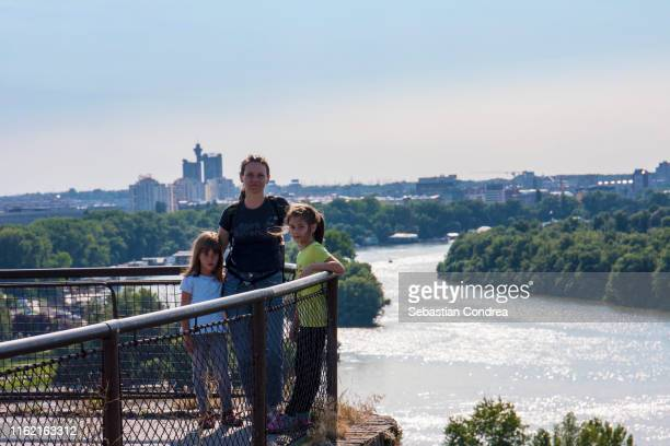 family enjoyed of the belgrade panorama, travel in eastern european culture, balkans country. - serbia stock pictures, royalty-free photos & images
