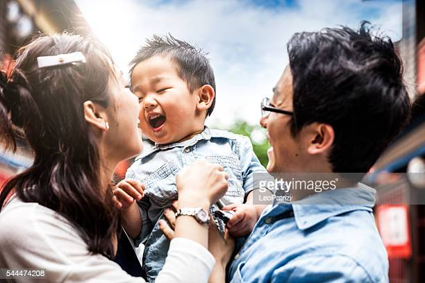 family enjoying a visit to kyoto historical old town, japan - east asian culture stock photos and pictures