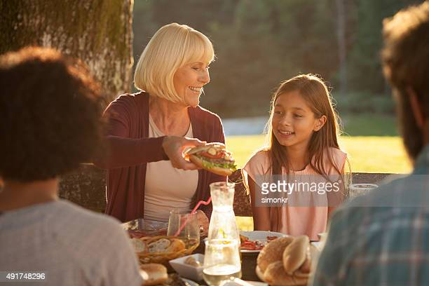 Family enjoying barbecue at outdoors