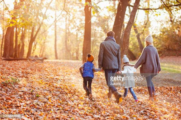 family enjoying beautiful autumn day in the park - leaving stock pictures, royalty-free photos & images