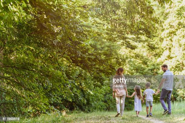 Family enjoying beutiful summer day in nature