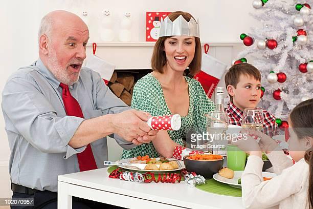 Family enjoying Christmas dinner