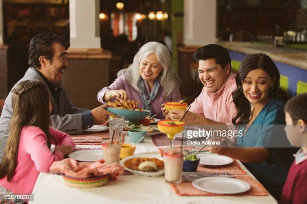 Family enjoying dinner in restaurant