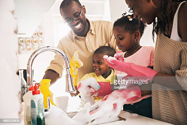 Family enjoying dishwashing