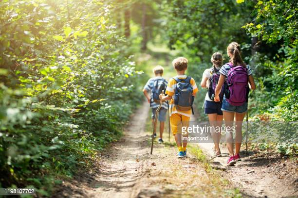 family enjoying hiking together - summer stock pictures, royalty-free photos & images
