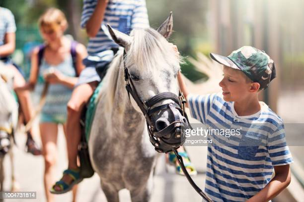 family enjoying horse ride - all horse riding stock pictures, royalty-free photos & images
