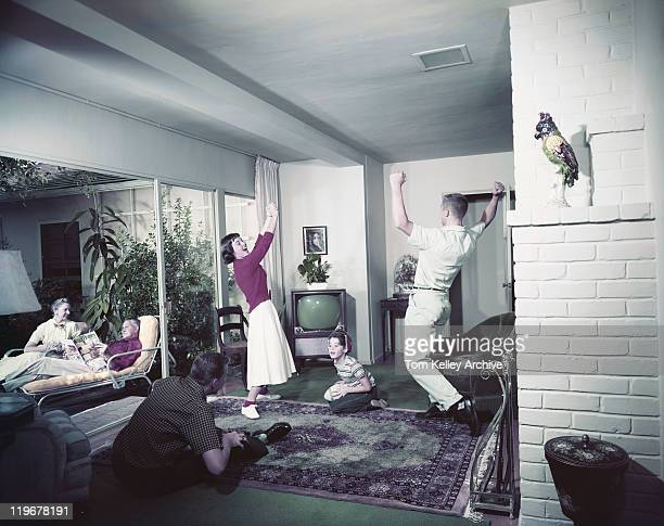 Family enjoying in living room