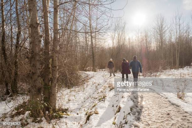 family enjoying sunny winter walk in snowy wilderness park - lane sisters stock photos and pictures