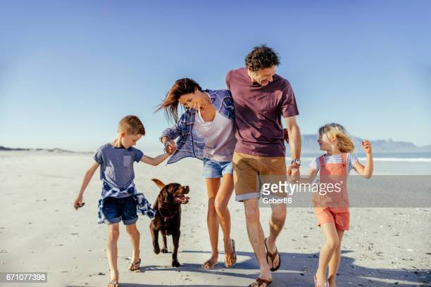Family enjoying time on the beach