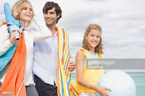 Family enjoying vacations on the beach