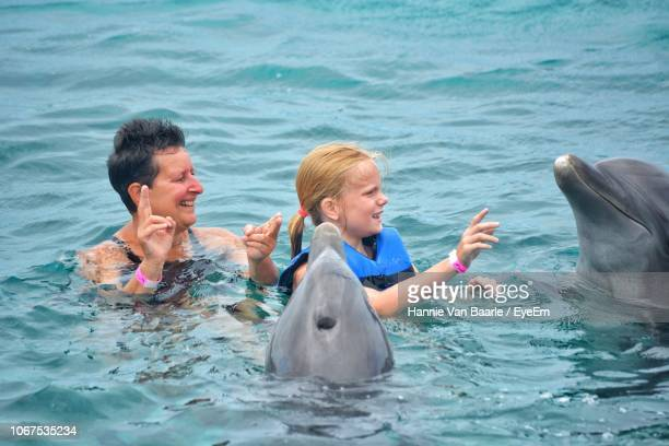 Family Enjoying With Dolphins In Sea