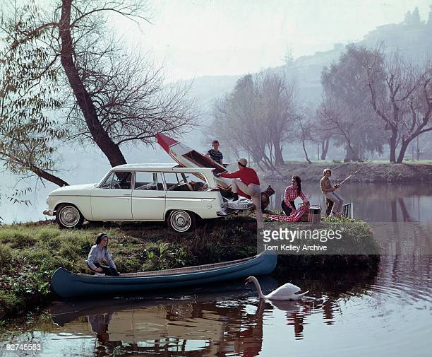 A family enjoys a day out on the lake and unpacks their gear in this advertisement for the 1962 Studebaker Lark Daytona Wagonaire Santa Barbara CA...