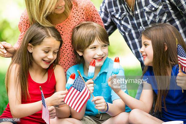 family enjoys july 4th picnic in summer season. american flags. - labor day stock pictures, royalty-free photos & images