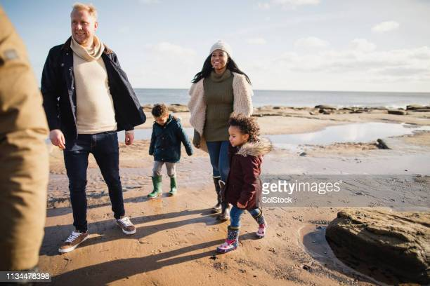 family exploring the beach - day stock pictures, royalty-free photos & images