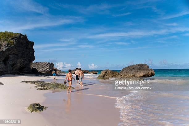 Family exploring tropical beach