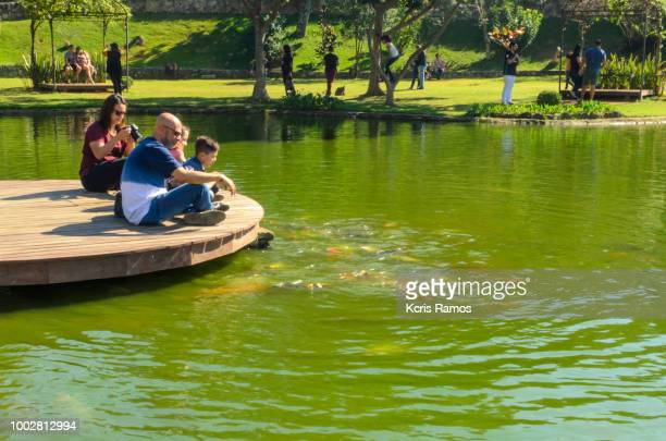 family, father, mother and children children, sitting by the lake on sunny day in São Roque, São Paulo, July 2018 in Brazil