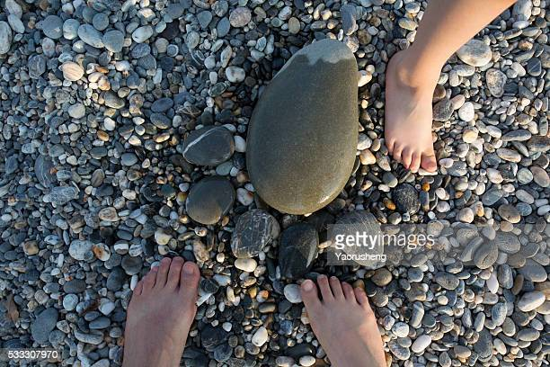 family feet and feet by Pebble,happy and nice view,china