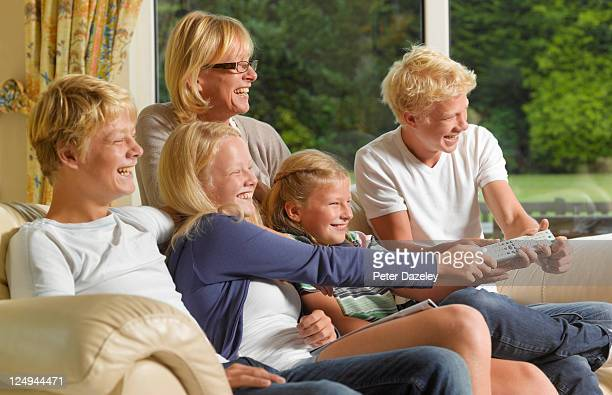 Family fighting over television remote control