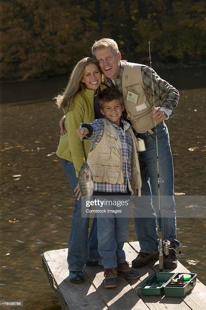 Family fishing : Stockfoto