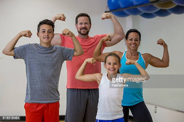 Family Flexing Together