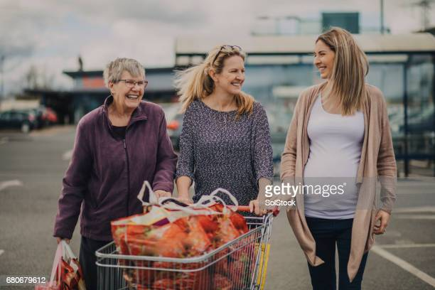 family food shopping - british granny stock photos and pictures
