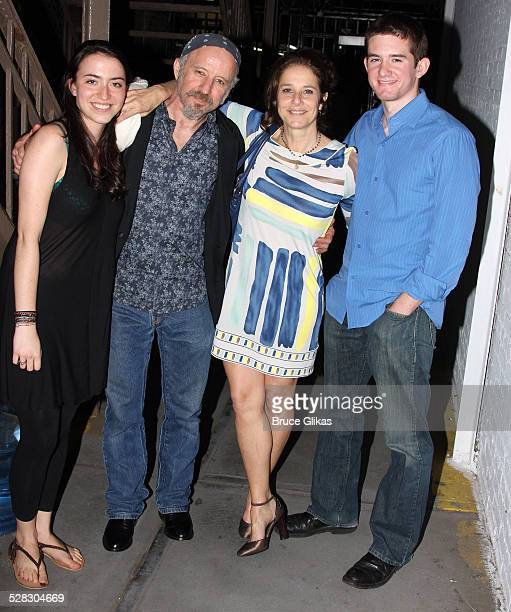 Family friend Arliss Howard Debra Winger and son Noah Hutton pose backstage at ''Joe Turner's Come and Gone'' on Broadway at The Belasco Theater on...