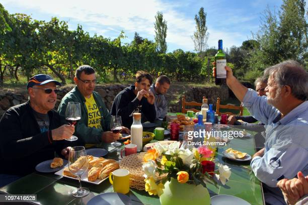Family friends and workers gather for a celebratory meal at the end of the harvest at the Clos Mesorah Montsant DO estate winery on October 2 2018...