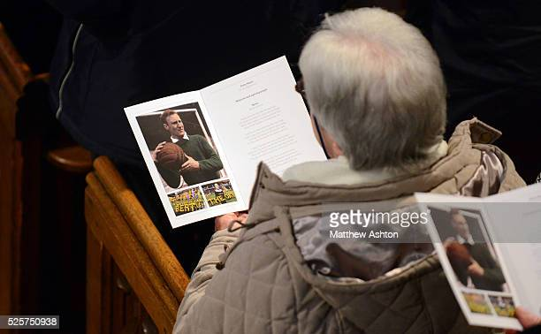 Family friends colleagues and fans attend the memorial service to remember former England and Wolverhampton Wanderers goalkeeper Bert Williams at St...