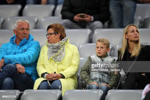 Family from Arjen ROBBEN FC Bayern München father Hans mother Marjo wife Eillert and sun Kai during the UEFA Champions League Quarter Final first leg...