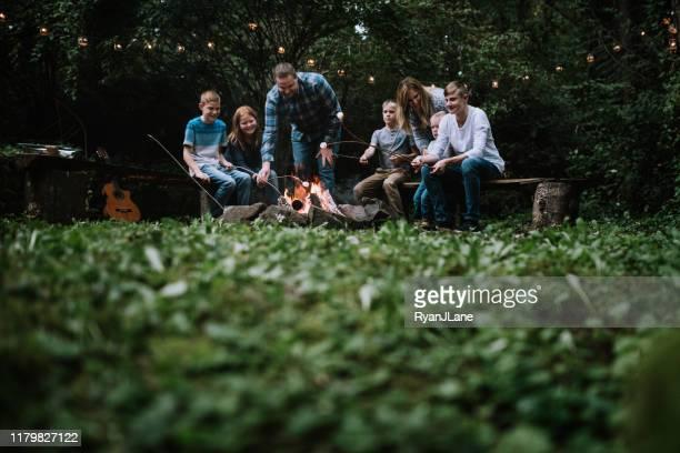 音楽と食べ物を持つキャンプファイヤーの周りの家族の楽しみ - キャンプファイヤー ストックフォトと画像