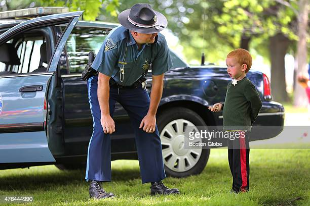A family fun day was held at Marine Park in South Boston sponsored by the MOMS Club of South Boston Mass State Trooper Rich Lauria has a chat with...