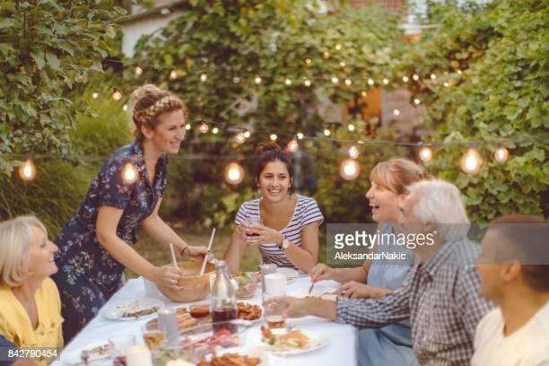 Family gathering over dinner