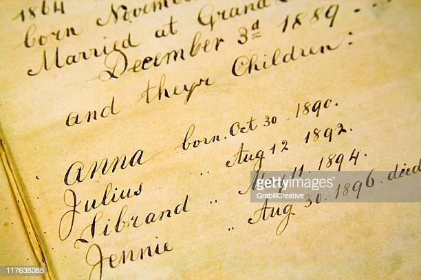 Family Genealogy - Front page of old Bible 1800s