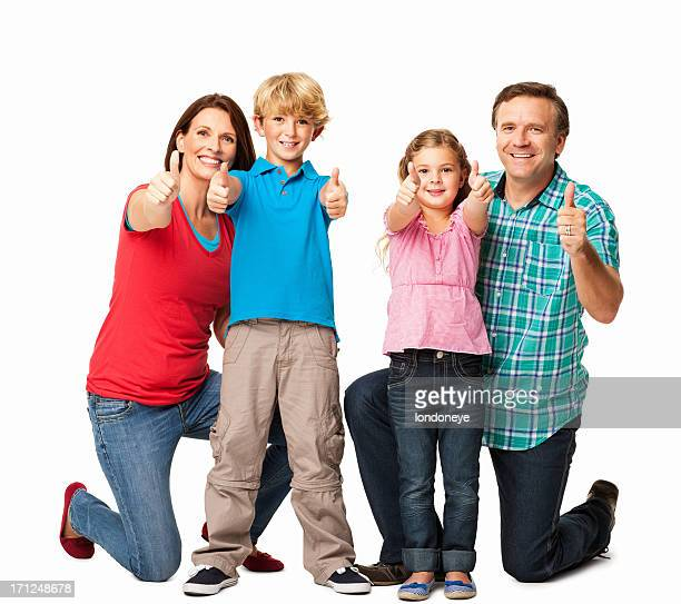 Family Gesturing Thumbs Up - Isolated