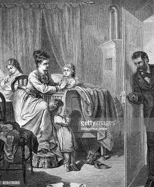 Family getting their children to bed historic illustration 1877